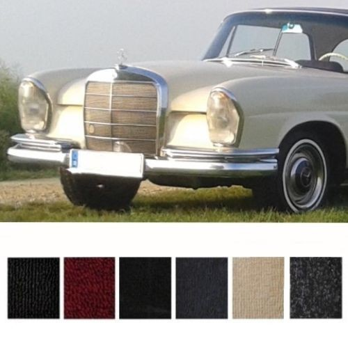 Mercedes W111 Coupe Hochkühler Teppich Velours dunkelblau Keder Kunstleder blau (H)