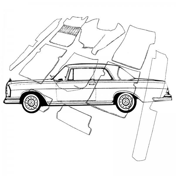 Mercedes W111 Coupe Flachkühler Teppich Velours dunkelblau Keder Kunstleder blau (H)
