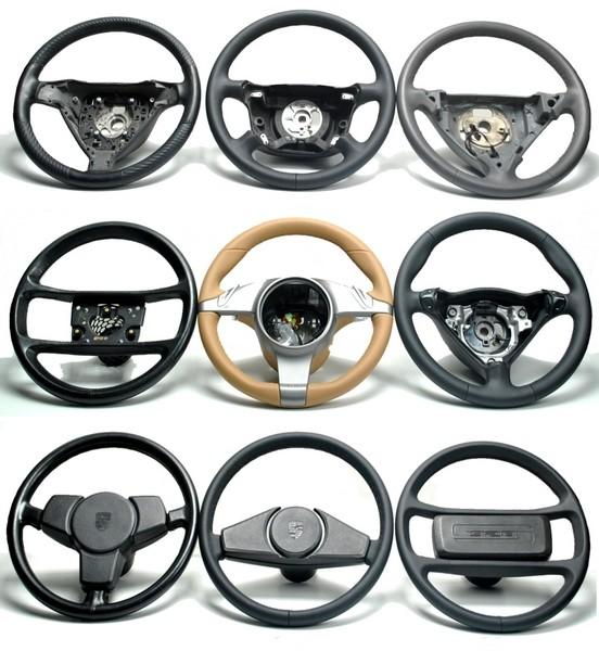 Porsche Lenkrad + Handbremshebel + Schaltknauf mit Automobilleder neu beziehen