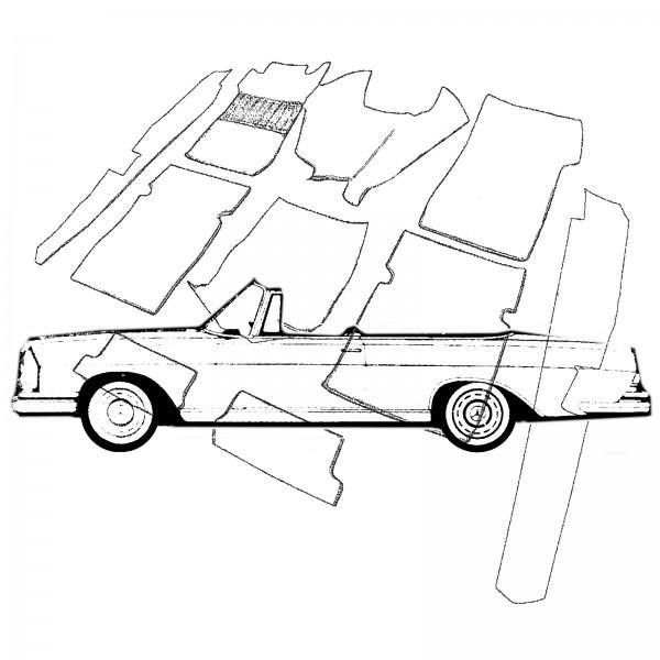 Mercedes W111 Cabrio Hochkühler Teppich Velours mittelgrau Keder Stoff grau