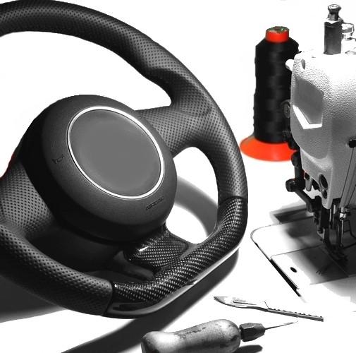 Lederlenkrad neu beziehen Mercedes E-Klasse W210 Automobilleder Daumenauflagen