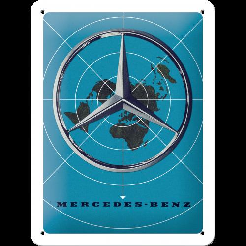 Blechschild 15 x 20 Mercedes-Benz Blue Map