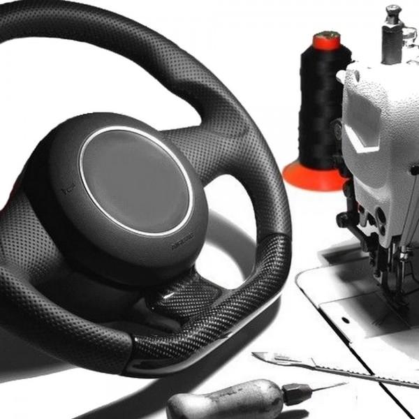 VW Bora Lenkrad neu beziehen mit Automobil - Leder Daumenauflagen