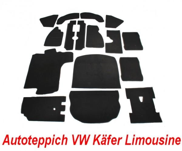 VW Käfer Limo 1303 Teppich komplettes Set in Velours schwarz Keder Stoff schwarz